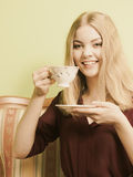 Woman drinking hot coffee beverage. Caffeine. Stock Photo