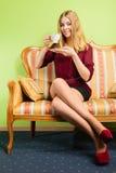 Woman drinking hot coffee beverage. Caffeine. Stock Photo