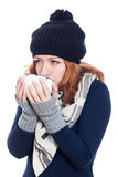Woman drinking hot drink Royalty Free Stock Image