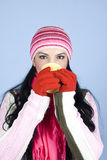 Woman drinking hot drink in winter season Stock Photo