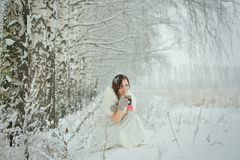 Woman drinking hot tea in winter forest Stock Photography