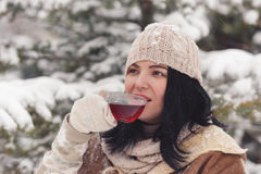 Woman drinking hot tea in the winter landscape. Close up. Focus on tea cup, copy space, vintage toned image Stock Images