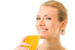 Woman drinking juice, isolated stock image