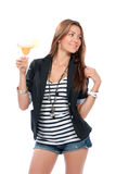 Woman drinking margarita cocktail Stock Photos