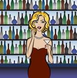 Woman drinking martini Stock Photos