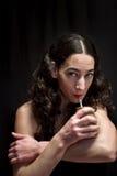 Woman drinking mate tea Stock Photo