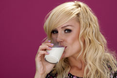 Woman drinking milk. Stock Photo