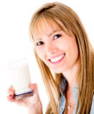 Woman drinking milk Stock Photography