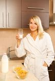 Woman drinking milk Royalty Free Stock Images