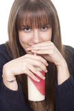 Woman drinking milk with a straw Stock Photos