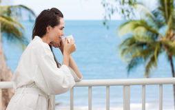 Woman drinking morning coffee Royalty Free Stock Photo