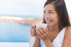 Woman Drinking Morning Coffee At Breakfast Royalty Free Stock Photo