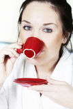 Woman drinking morning coffee - St. Valentine Day concept Royalty Free Stock Image