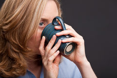 Woman drinking from mug Royalty Free Stock Photos