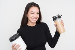 Woman With Shake Royalty Free Stock Image