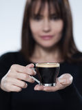 Woman drinking offering coffee Royalty Free Stock Photos