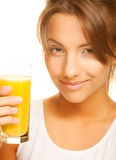 Woman drinking orange juice close up Stock Photo