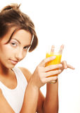 Woman drinking orange juice close up Stock Photos