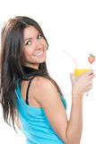 Woman drinking orange juice cocktail Stock Image