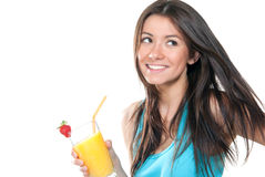 Woman drinking orange juice cocktail Royalty Free Stock Image