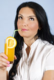 Woman drinking orange juice  and dream Stock Photos