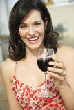 Woman Drinking Red Wine Stock Photography