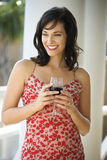 Woman Drinking Red Wine Royalty Free Stock Image