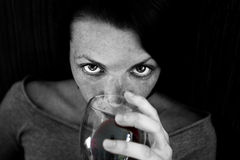 Woman Drinking Red Wine Royalty Free Stock Photo