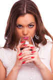 Woman drinking red wine Royalty Free Stock Images
