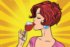 Woman drinking red wine Stock Photos