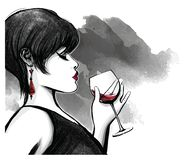 Woman drinking red wine royalty free illustration
