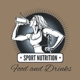 Woman drinking from a shaker - sports nutrition. Stock Photography