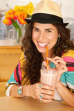 Woman Drinking a Smoothie Royalty Free Stock Image