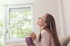 Woman drinking smoothie Royalty Free Stock Image
