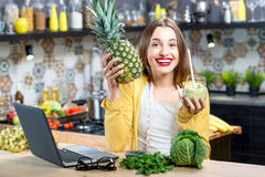 Woman drinking smoothie Royalty Free Stock Images