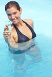 Woman drinking sparkling wine Stock Photography