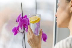 Woman drinking summer refreshing fruit flavored infused water with fresh organic lemon stock photo