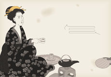 Woman drinking tea. Japanese style drawing Royalty Free Stock Photography