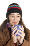 Woman drinking  a tea Stock Photography