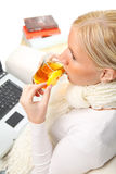 Woman drinking tea. Royalty Free Stock Images