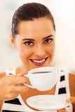 Woman drinking tea Stock Image