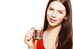 Woman drinking tea Stock Photos