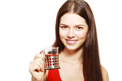 Woman drinking tea Stock Photography