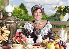 Woman drinking tea outdoors Royalty Free Stock Photos