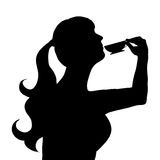 Woman drinking tea. Vector illustration of a woman drinking tea Royalty Free Stock Photography