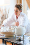 Woman drinking tea in wellness spa Royalty Free Stock Photography