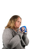 Woman drinking tea in the winter time Stock Photo