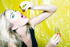 Woman drinking Tequilla Royalty Free Stock Image