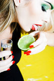 Woman Drinking Tequilla Royalty Free Stock Photos