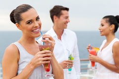 Woman drinking tropical juice Royalty Free Stock Photo